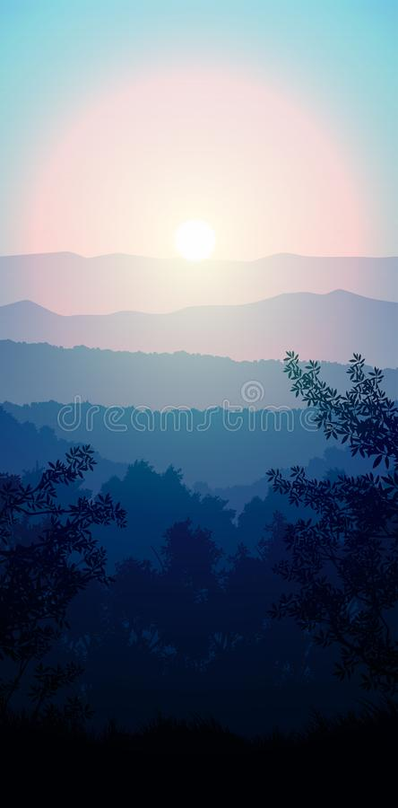Naturskog Jungle green horizon tree Landscape wallpaper Sunrise och sunset Illustration vetor style: Colorful background royaltyfri illustrationer