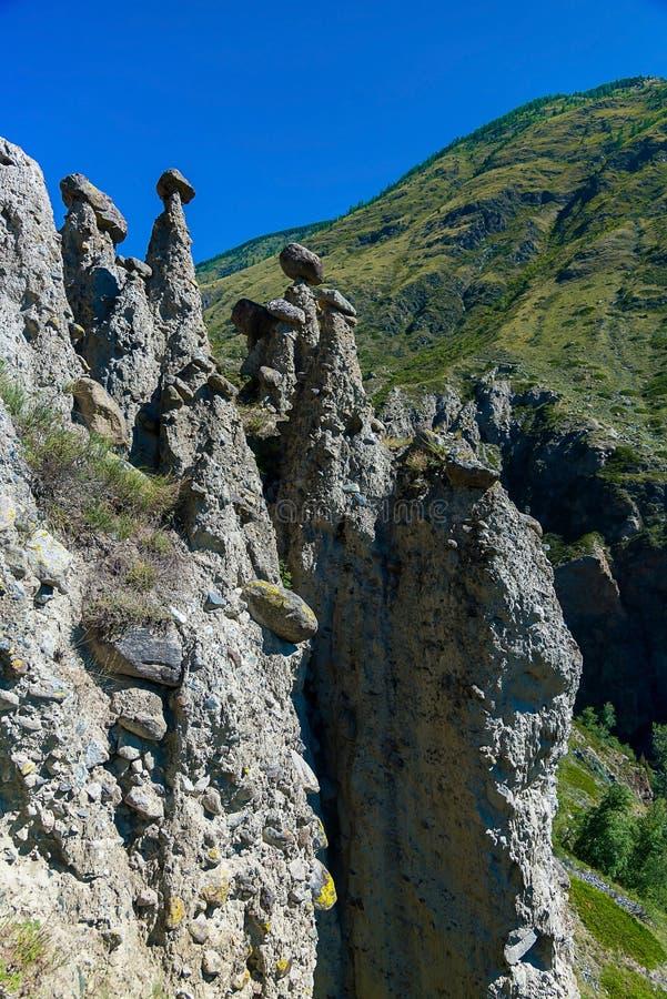 Natursteinbildungen im Chulyshman-Tal ` entsteinen Pilze `, Ulagansky-Bezirk, Altai-Republik, Russland stockbild