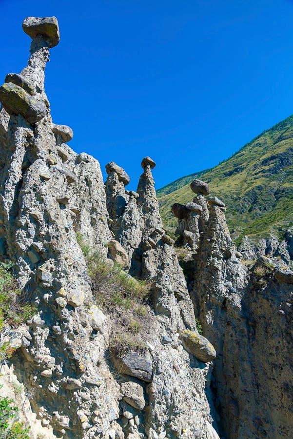 Natursteinbildungen im Chulyshman-Tal ` entsteinen Pilze `, Ulagansky-Bezirk, Altai-Republik, Russland, vertikales Foto stockbild