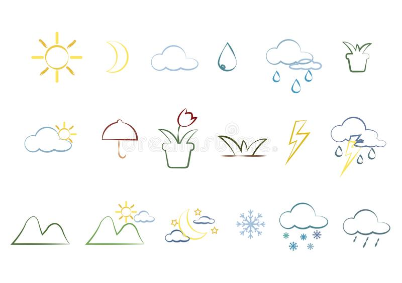 Natursymboler och tillbehör fotografering för bildbyråer