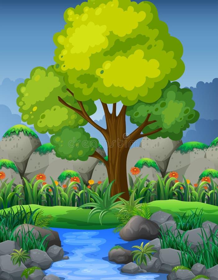 Naturszene mit Fluss im Wald vektor abbildung