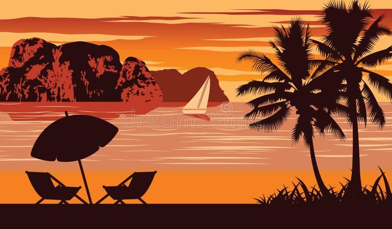 Naturszene von Meer im Sommer, Regenschirm und Feldbett sind auf Strand, Weinlesefarbentwurf lizenzfreie stockfotografie