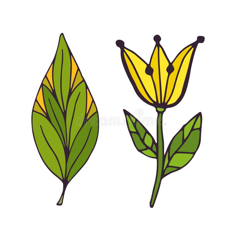 Naturtatueringkonst T-tröjatryckdesign Gulliga klotterklistermärkear royaltyfri illustrationer