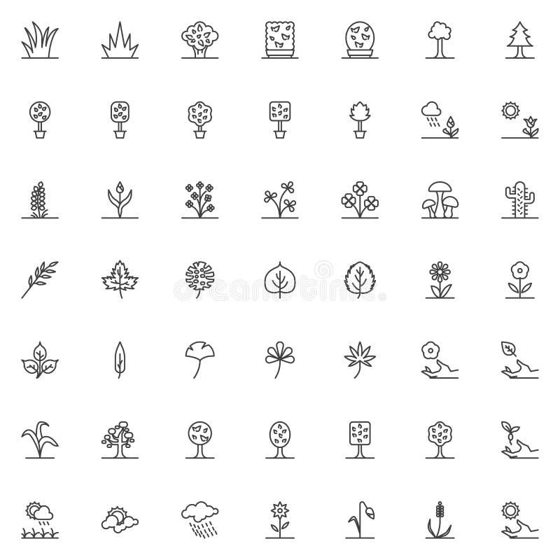 Naturväxter fodrar symbolsuppsättningen stock illustrationer