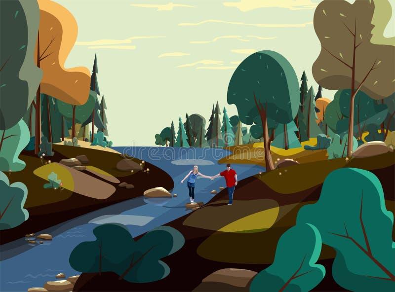Naturvektor, skogtapetlandskap, par som fotvandrar den unga mannen och kvinnan royaltyfri illustrationer