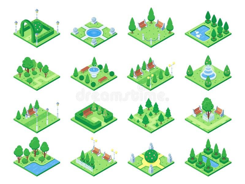 Naturwaldelemente, Betriebssymbol und grüne Bäume für isometrisches Spiel der Stadt 3d zeichnen auf Lokalisierte Parkbaum-Vektori vektor abbildung
