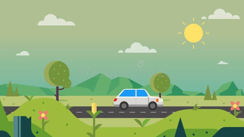 Naturweglandschaft mit Auto- und Himmelhintergrundvektorillustration Schöne Naturszene Ist ein grünes Feld voll der Weizenanlagen vektor abbildung