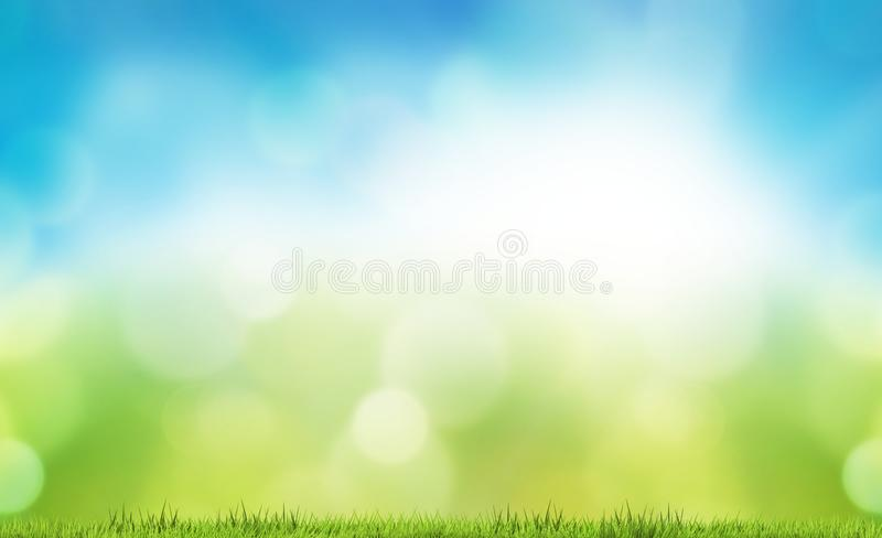 Natury bokeh tła zielonej trawy gazonu 3d łąkowy rendering fotografia royalty free
