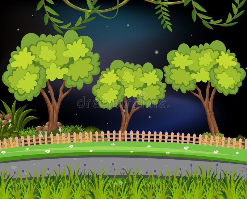 Natury droga przy nocą ilustracji