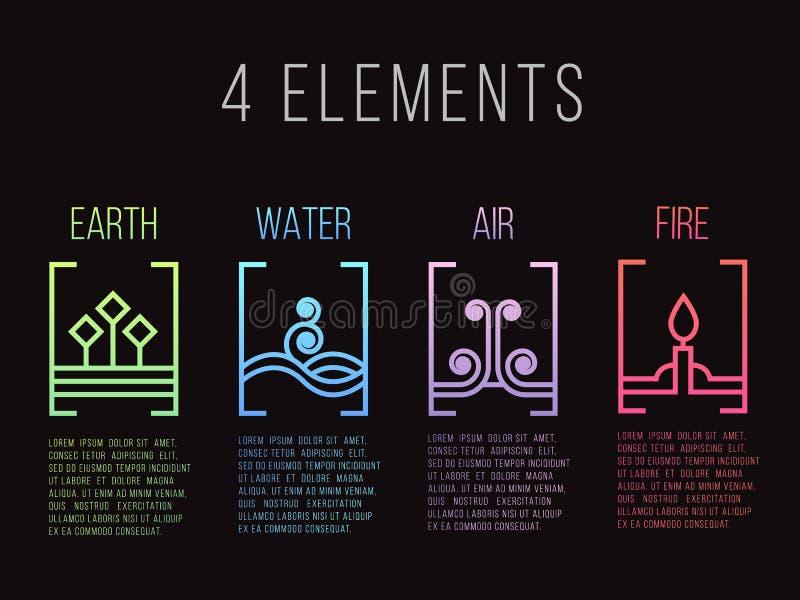Natury 4 elementów kreskowej granicy ikony abstrakcjonistyczny gradientowy znak Woda, ogień, ziemia, powietrze Na ciemnym tle ilustracja wektor