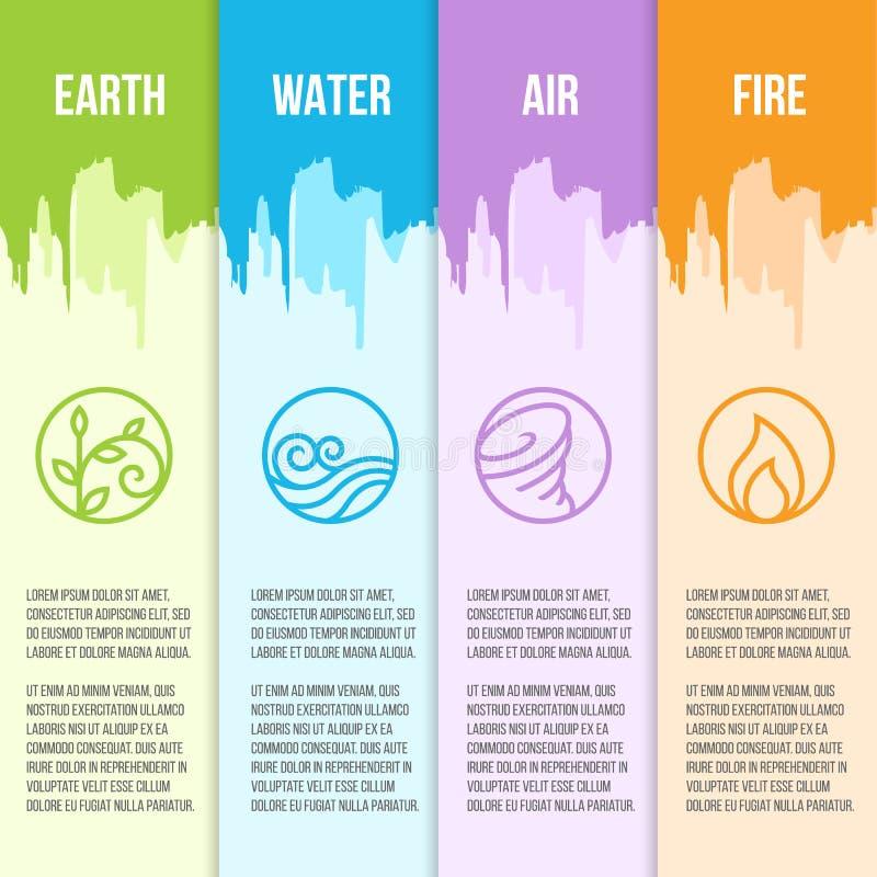 Natury 4 elementów okręgu kreskowej granicy ikony Klasyczny znak Woda, ogień, ziemia, powietrze na zielonym błękitnym purpur i po ilustracja wektor