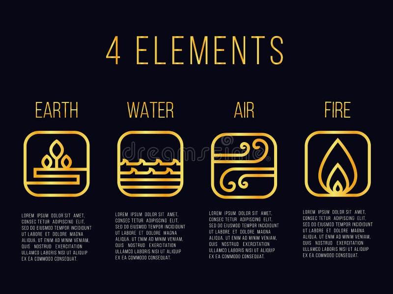 Natury 4 elementy wykładają złocistego abstrakcjonistycznego ikona znaka Woda, ogień, ziemia, powietrze Na ciemnym tle ilustracja wektor
