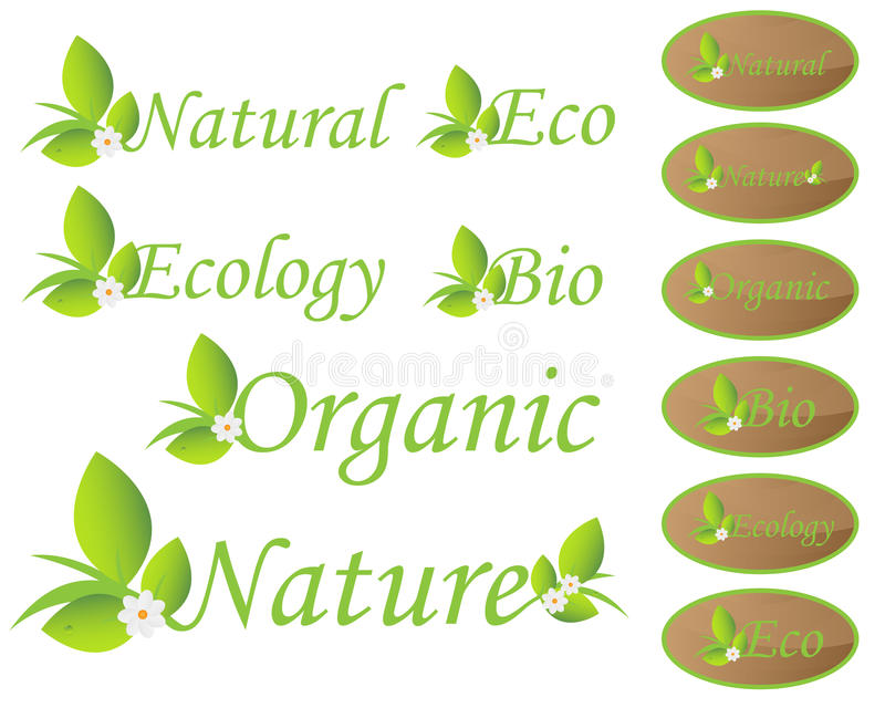Natury i ekologii etykietki ilustracji
