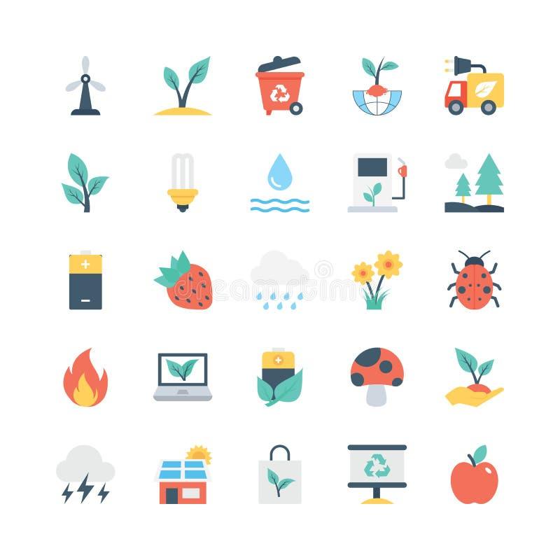 Natury i ekologii Wektorowe ikony 4 ilustracja wektor