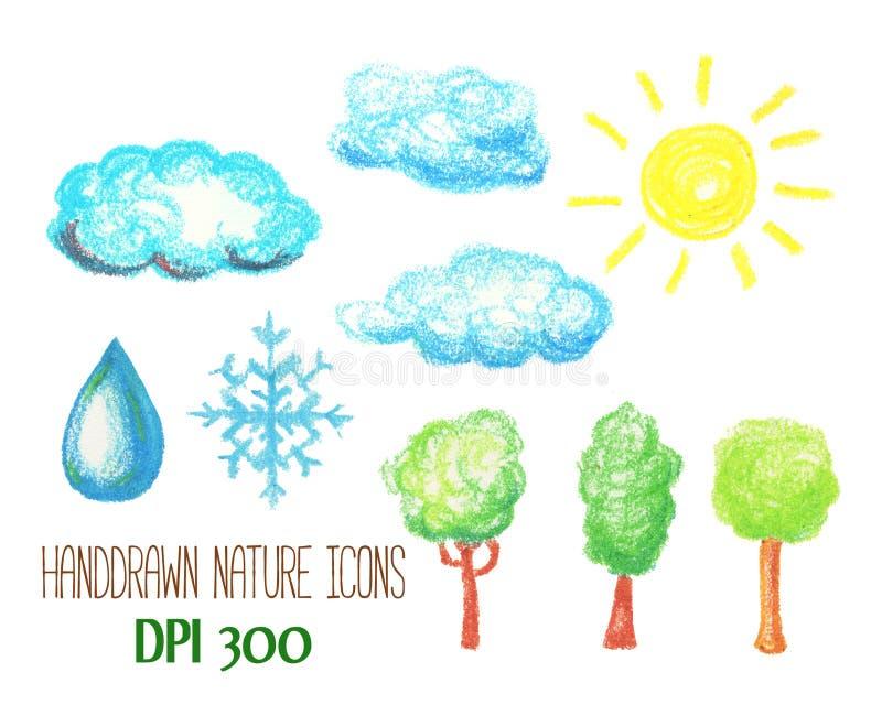 Natury i pogody ikony pastelem Chmury, słońca, drzewa, płatka śniegu i wody opadowa handdrawn ilustracja, ilustracji