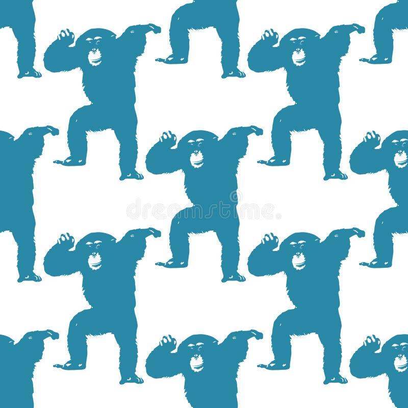 Natury ilustracja Pocztówka Zwierzęta od dżungli Szympans przy zoo bezszwowy wzoru royalty ilustracja