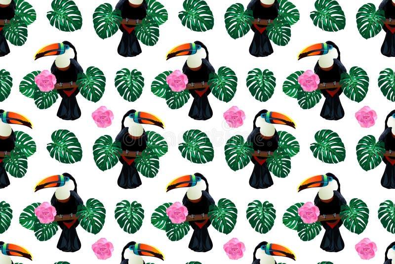 Natury kolorowej dżungli bezszwowy wzór z pieprzojada ptakiem wokoło palmowego monstera opuszcza i kwitnie ilustracja wektor