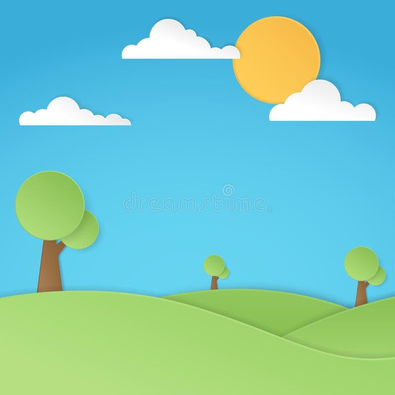Natury krajobraz, drzewa i chmury z słońcem, royalty ilustracja