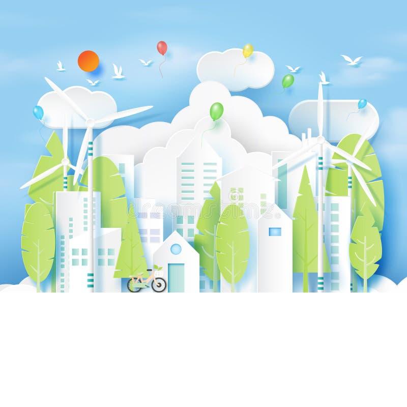 Natury krajobrazowego i zielonego eco miastowy miasto ilustracja wektor