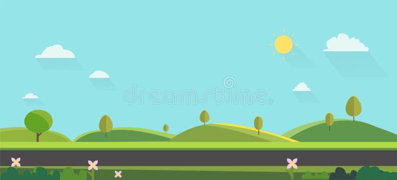 Natury krajobrazowy tło Śliczny płaski projekt Zieleni wzgórza z niebieskim niebem Jawny park z naturą i ulicą ilustracja wektor