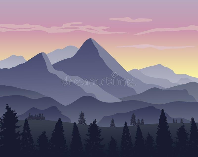 Natury krajobrazowy tło z sylwetkami góry ilustracji
