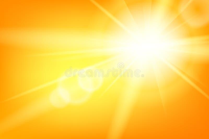 Natury lata pogodny abstrakcjonistyczny tło z słońcem ilustracji