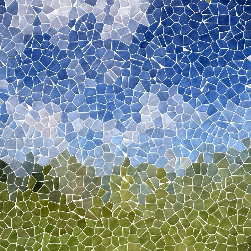 Natury mozaiki płytek tekstury marmurowy plastikowy kamienisty tło z białym grout - nieba błękit i trawa łąkowi zieleni kolory - ilustracja wektor