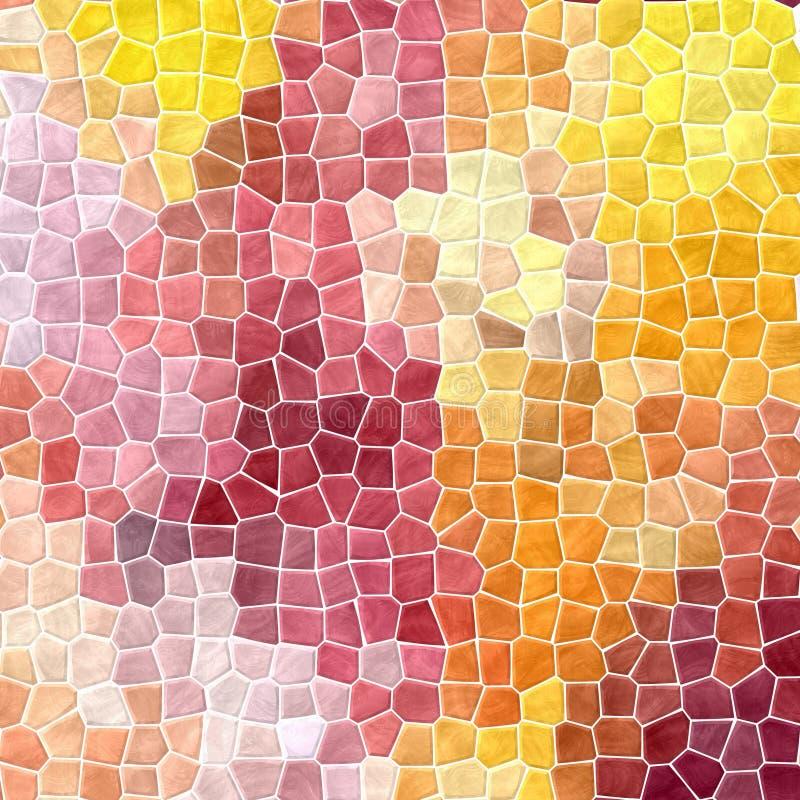 Natury mozaiki płytek tekstury marmurowy plastikowy kamienisty tło z białym grout - pogodny kolor żółty, pomarańcze, czerwień, me ilustracja wektor