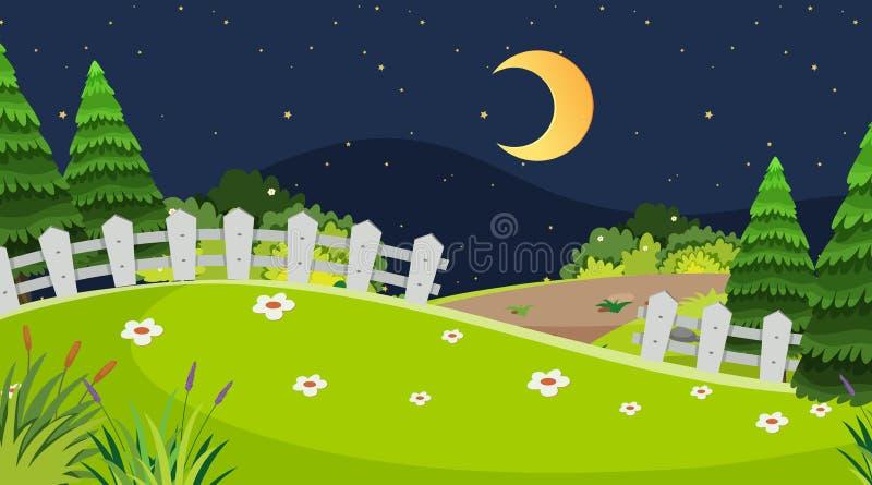 Natury nocy scena ilustracji