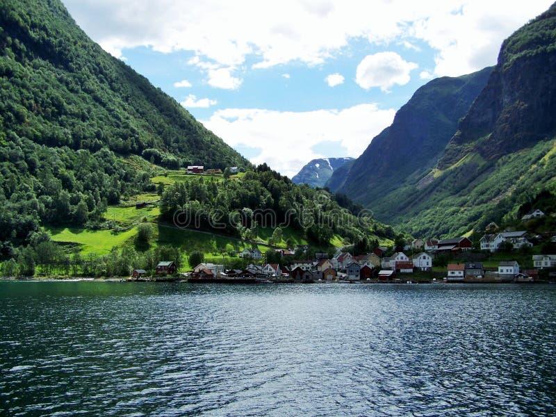 Natury Norwegia lato Woda, lasowy fjord na słonecznym dniu fotografia stock