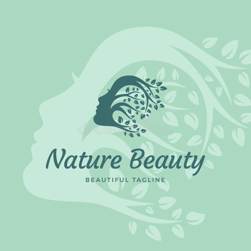 Natury piękna wektoru Abstrakcjonistyczny znak, emblemat lub loga szablon, Piękna kobiety twarz z Kędzierzawym włosy gałąź z liść royalty ilustracja