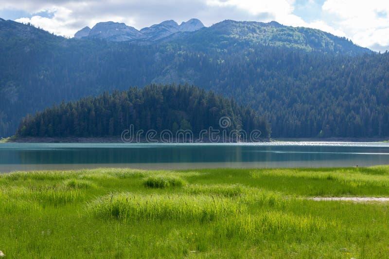 Natury podróży tło czarny jezioro w Durmitor, Montenegro - fotografia royalty free