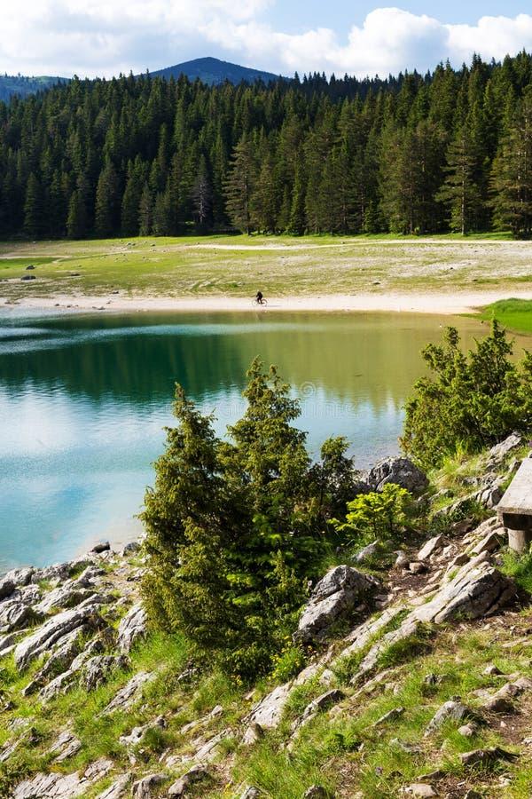Natury podróży tło czarny jezioro w Durmitor, Montenegro - zdjęcie royalty free