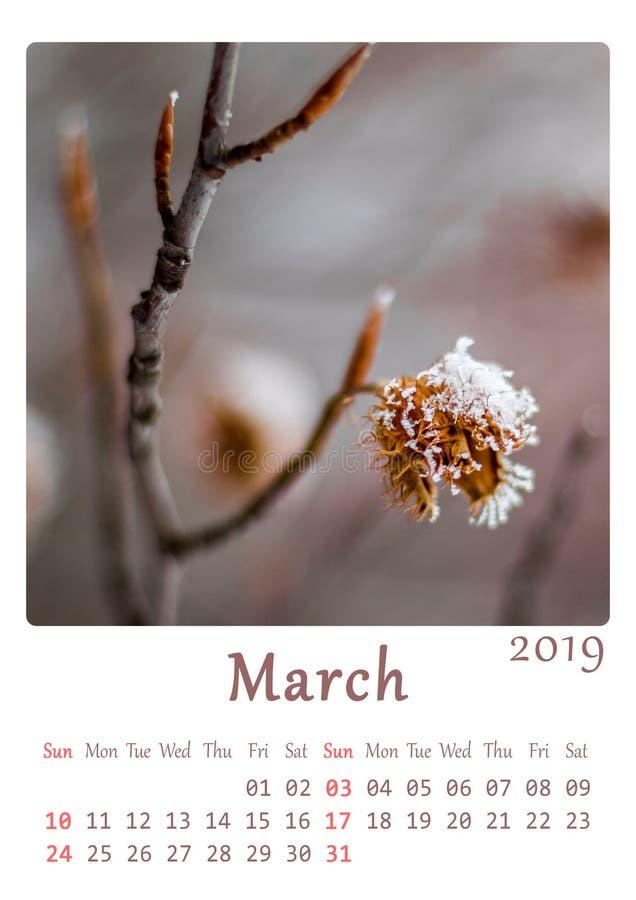 A4 natury printable 2019 minimalistycznych kalendarzy - miesiąc Marzec ilustracja wektor