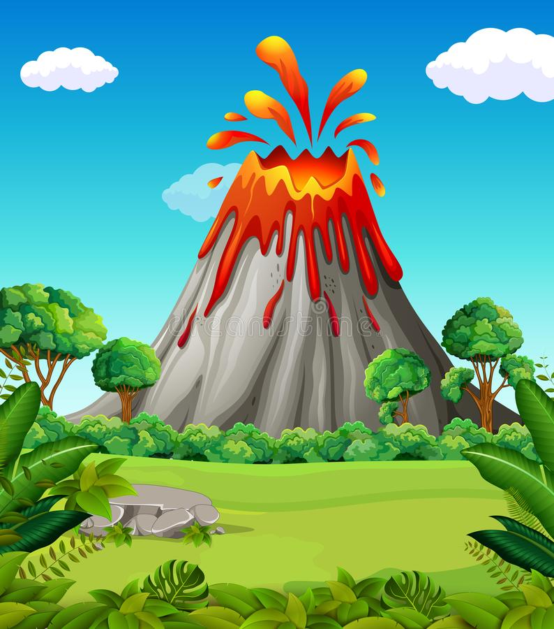 Natury scena wulkan erupcja royalty ilustracja