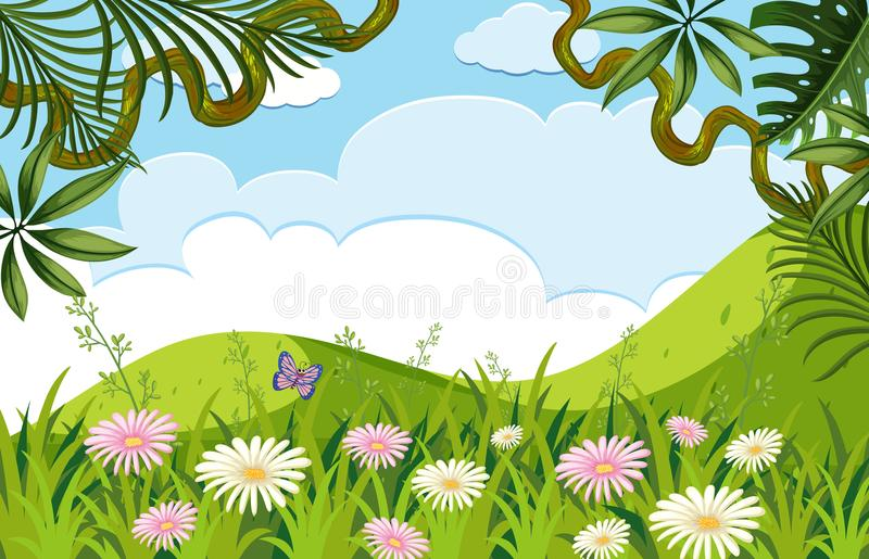 Natury scena z kwiatami na wzgórzach ilustracji