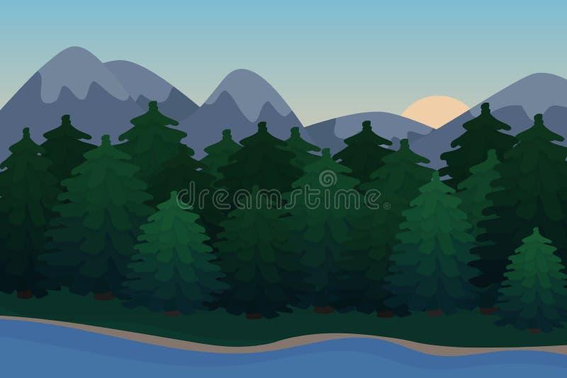 Natury tło góry panorama Kolorowy zmierzch w dzikiej dolinie ilustracja wektor