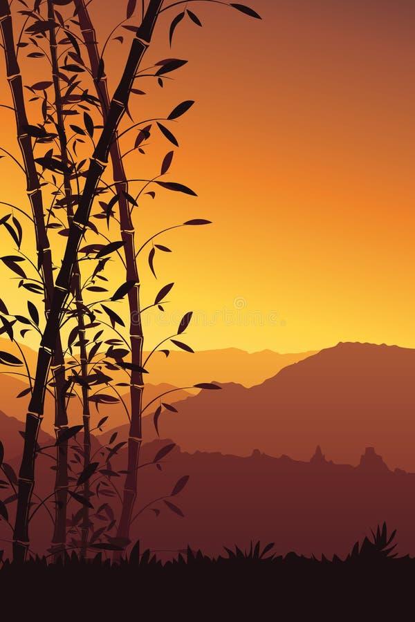 Natury tło z bambusowym portreta widokiem Scenerii wiszącej ozdoby tapeta ilustracja wektor