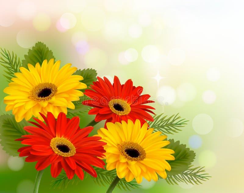 Natury tło z kolorowymi pięknymi kwiatami. ilustracja wektor