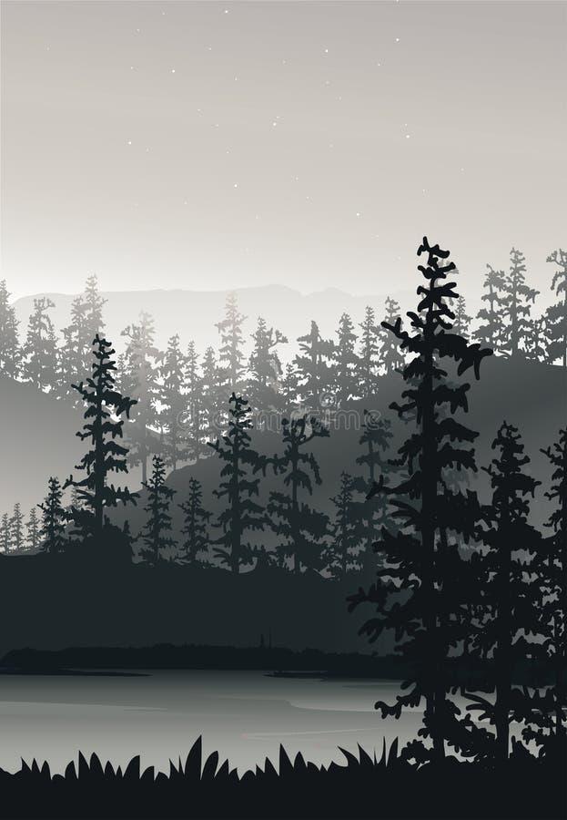 Natury tło z rzeką, drzewem i górą, Mgła i śnieg na górze, portreta widoku tapeta royalty ilustracja
