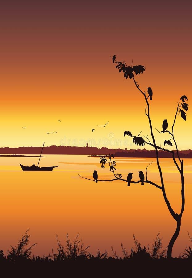 Natury tło z rzeką i drzewem Ptaki siedzi na drzewie, Kolorowy zmierzch, Mobilna tapeta ilustracja wektor