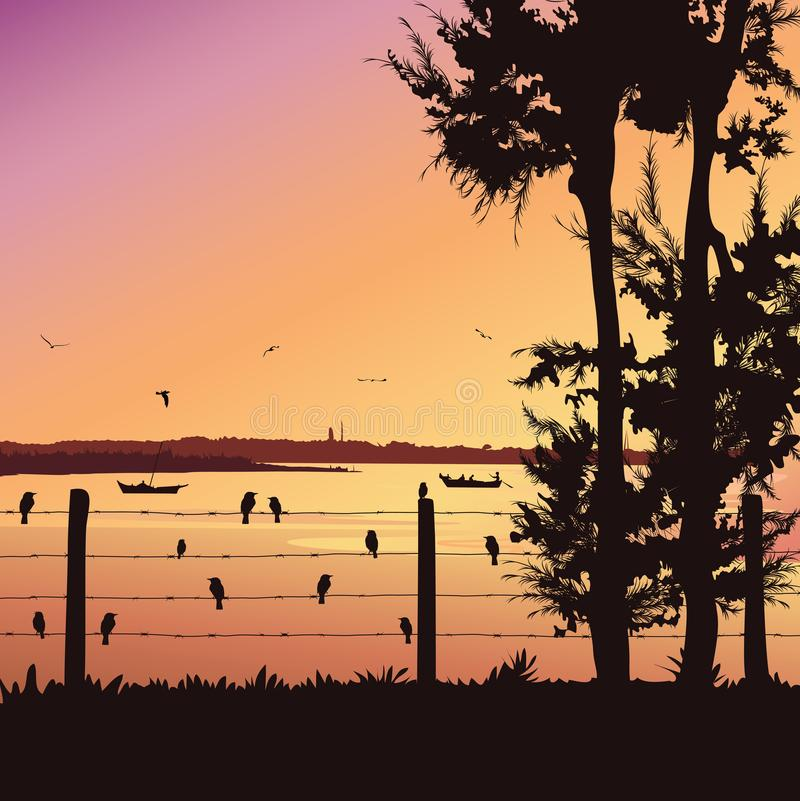 Natury tło z rzeką i drzewem Ptaki siedzi na poręczu, Kolorowy zmierzch ilustracji