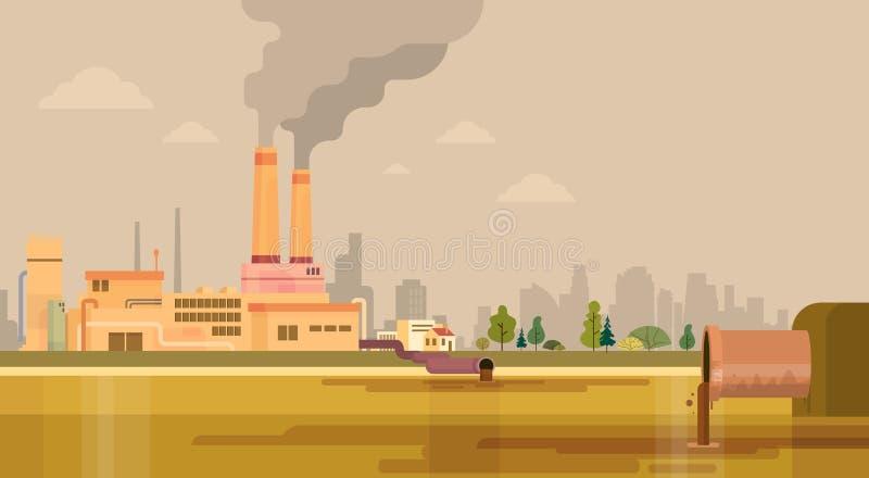 Natury zanieczyszczenia rośliny drymby Brudny ścieki Zanieczyszczający środowisko royalty ilustracja