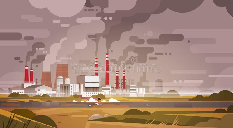 Natury zanieczyszczenia rośliny drymby odpady Brudny powietrze I woda Zanieczyszczający środowisko royalty ilustracja