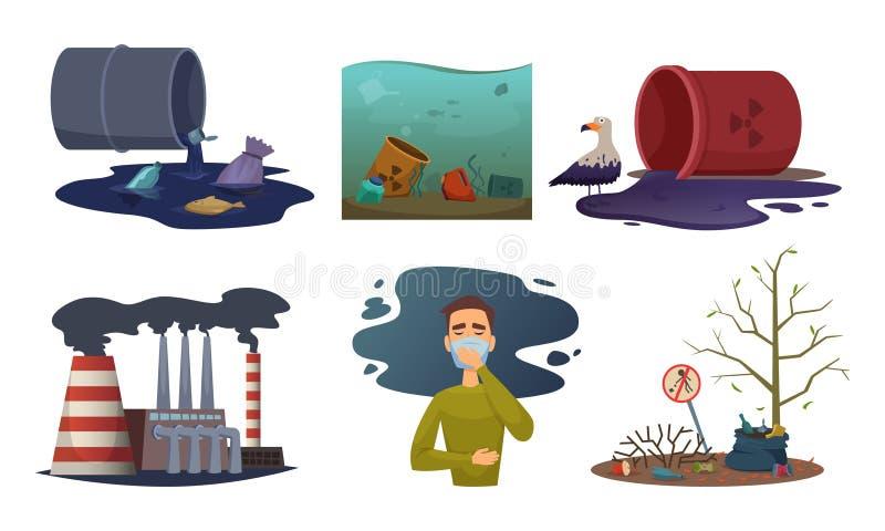 Natury zanieczyszczenie Środowiska kontaminowania odpady wydmuchowego samochodowego powietrza pojęcia toksyczne wektorowe ilustra ilustracja wektor