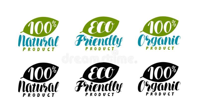 Natuurlijk, biologisch productembleem of etiket Eco vriendschappelijk, biopictogram Van letters voorziende Vectorillustratie stock illustratie