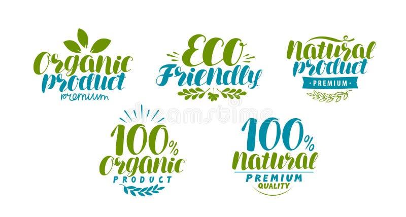 Natuurlijk, biologisch productetiket of embleem Het pictogram van Eco Typografisch ontwerp, van letters voorziende vectorillustra royalty-vrije illustratie