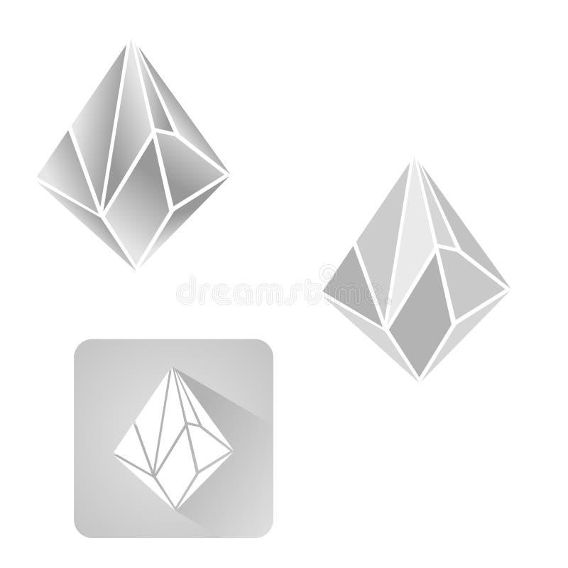 Natuurlijk de kristallenoverzicht van diamant 3d vormen vector illustratie