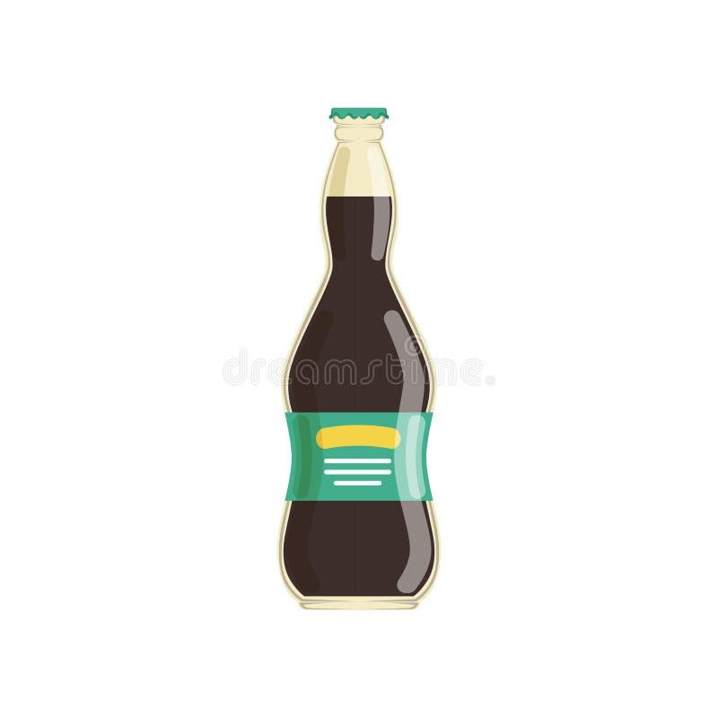 Natuurlijk druivesap in glasfles met etiket Biologisch product en gezonde drank Geïsoleerd vlak vectorelement voor royalty-vrije illustratie