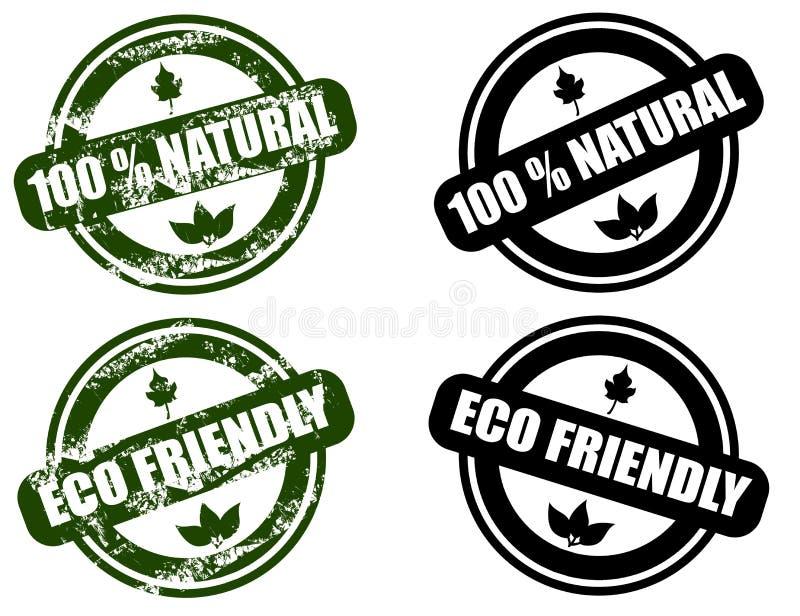 Natuurlijk/Eco Vriendschappelijke grungezegelreeks stock illustratie